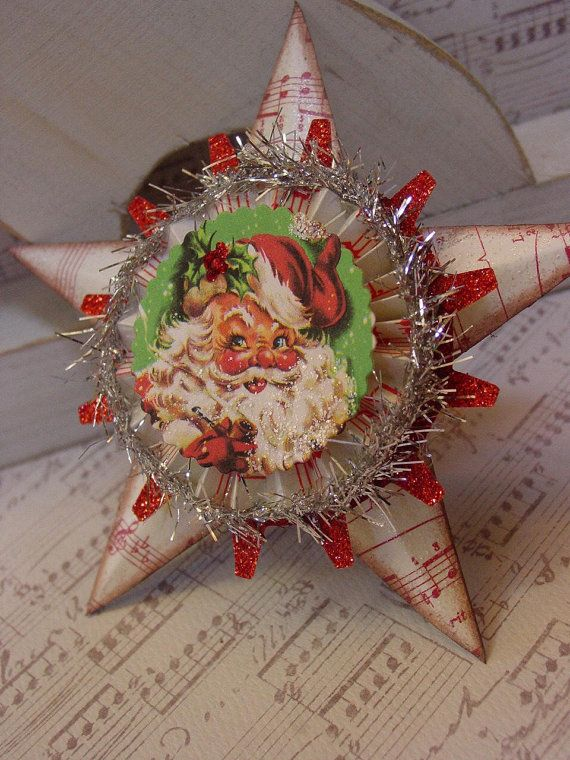 Retro Santa Assemblage Star Christmas by GardenSpellGhostTale, $12.00