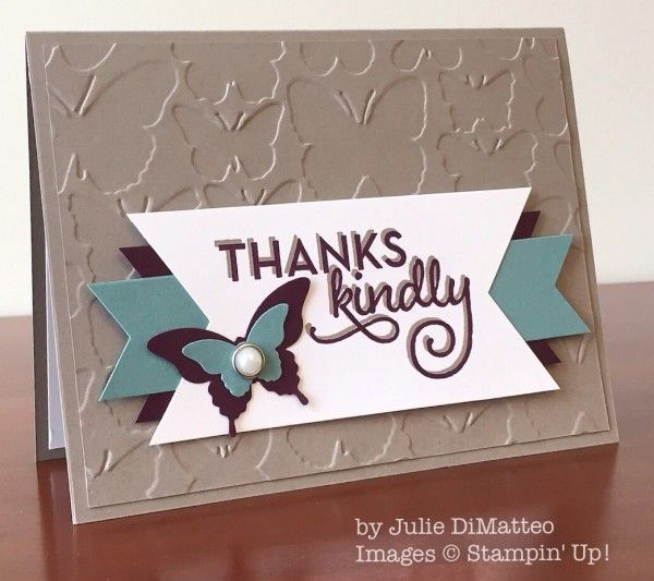 2015  Stamp Sets:  One Big Meaning  Papers:  Tip Top Taupe, Lost Lagoon, Blackberry Bliss, Whisper White  Inks:  Blackberry Bliss, Tip Top Taupe  Accessories:  Fluttering Textured Impressions Embossing Folder, Banner Triple Punch, Elegant Butterfly punch, Bitty Butterfly punch, Metal Rimmed Pearls, Stampin' Dimensionals