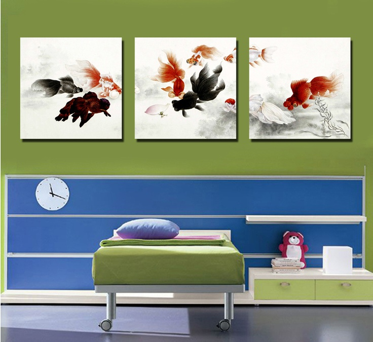 living room art prints%0A Large size   pieces fishes picture modern wall art painting print on canvas  pictures for home decoration without frame
