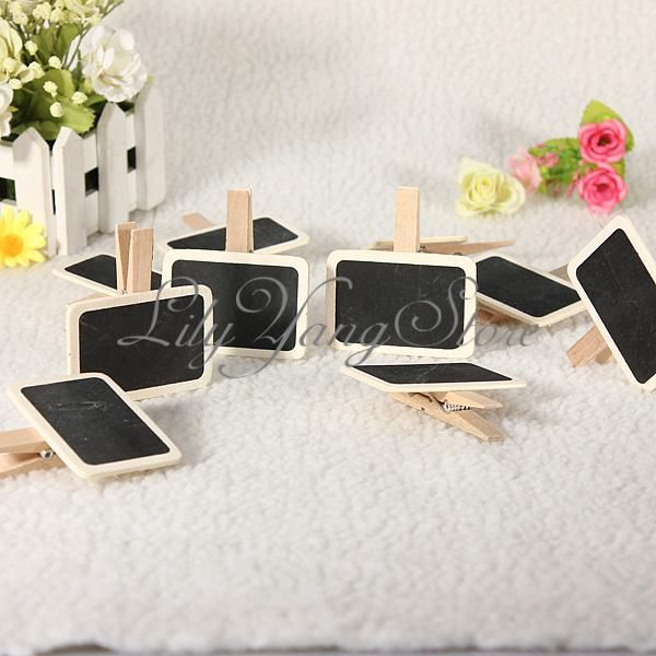 [place cards idea] 10/20/30PCS Mini Wooden Blackboard Messages Memo Chalkboard Party Wedding Clip
