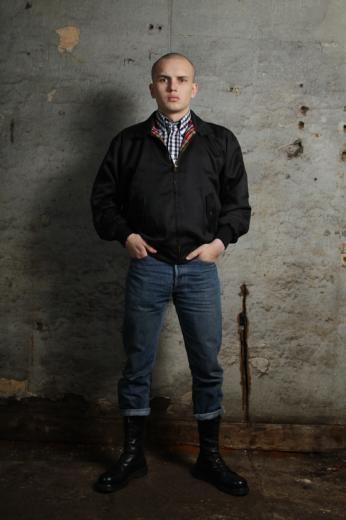 Harrington Jacket, Black & White Shirt (Warrior Clothing), Levi's and Doc's
