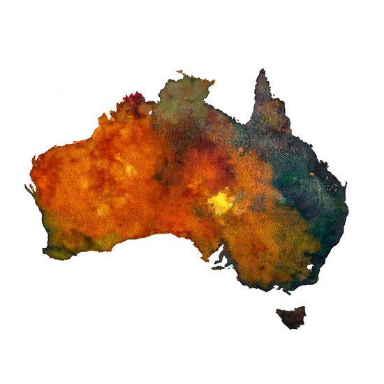"""Verkrijgbaar in mijn Webshop: """"Australie in aquarel"""". Een kleurrijke landkaart van Australie, geillustreerd met aquarel. www.wereldkaarten.shop"""