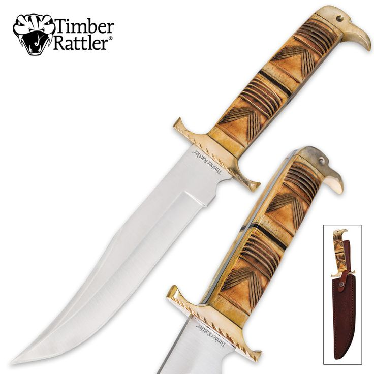 Timber Rattler Southwestern Sands Bowie Fixed Blade Knife Genuine Bone | BUDK.com - Knives & Swords At The Lowest Prices!
