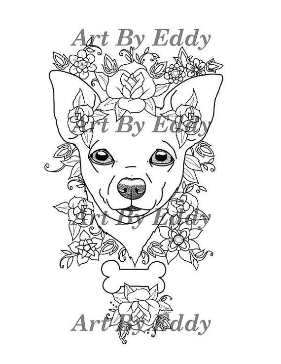 This Coloring Book Consists Of 15 Hand Drawn Images Beautiful Chihuahuas For You To Color The File Is 3 High Quality PDF Files Each Containing 5
