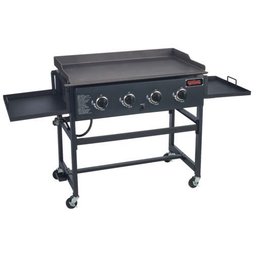 """The Outdoor Gourmet™ 36"""" Griddle is fueled by liquid propane and features 4 independent stainless-steel burners and a 720 sq. in. cooking surface."""