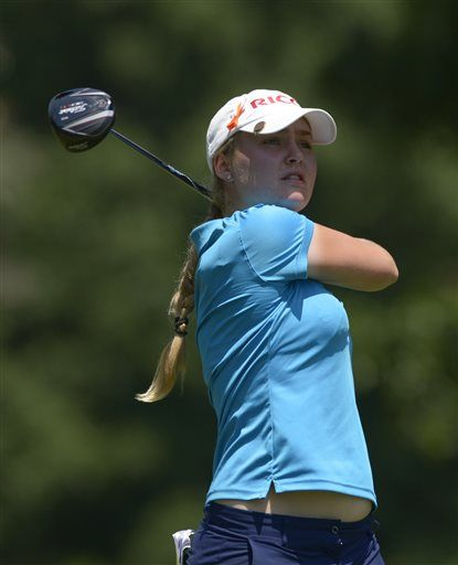 Charley Hull of England watches the flight of her tee shot from the seventh tee box during the second round of the Airbus LPGA Classic golf tournament at Magnolia Grove on Friday, May 23, 2014, in Mobile, Ala. (AP Photo/G.M. Andrews) ▼23May2014AP|Catriona Matthew leads Airbus LPGA Classic http://bigstory.ap.org/article/catriona-matthew-leads-airbus-lpga-classic-0