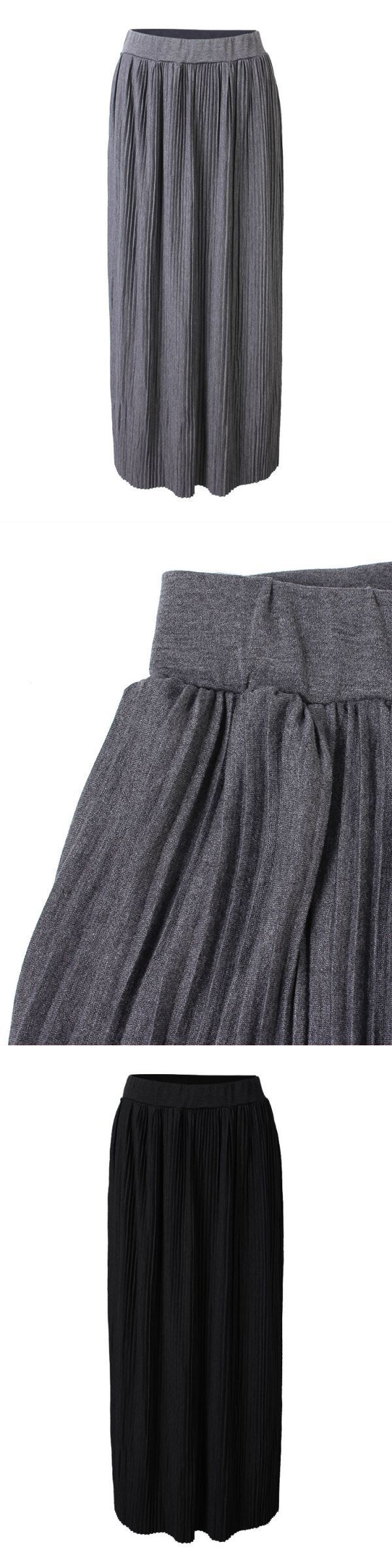 Apt 9 skirts elegant women pure color high waist pleated knitted full maxi skirt #$3 #skirts #50s #skirts #for #sale #skirts #synonym #wagon #r #skirts