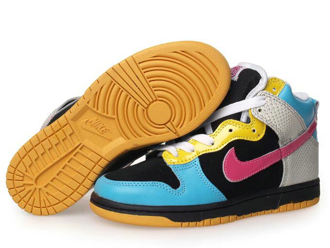 Kid s Nike Dunk High Shoes Black Light Blue Yellow White Pink For Sale Price Air Jordan Shoes New Jordan Shoes Michael Jordan Shoes