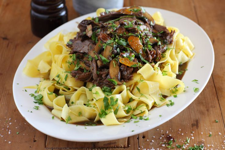 Beef Shin with Pappardelle, Roasted Garlic and Parsley - Maggie Beer