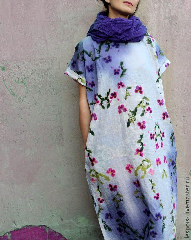 Купить Хлопковое платье в акварельных цветах и пятнах - сиреневый, цветочный, акварель, творчество, летнее платье