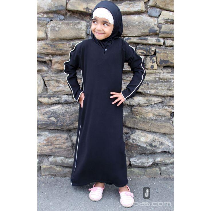 Girls Piping Abaya - Black with Cream Piping