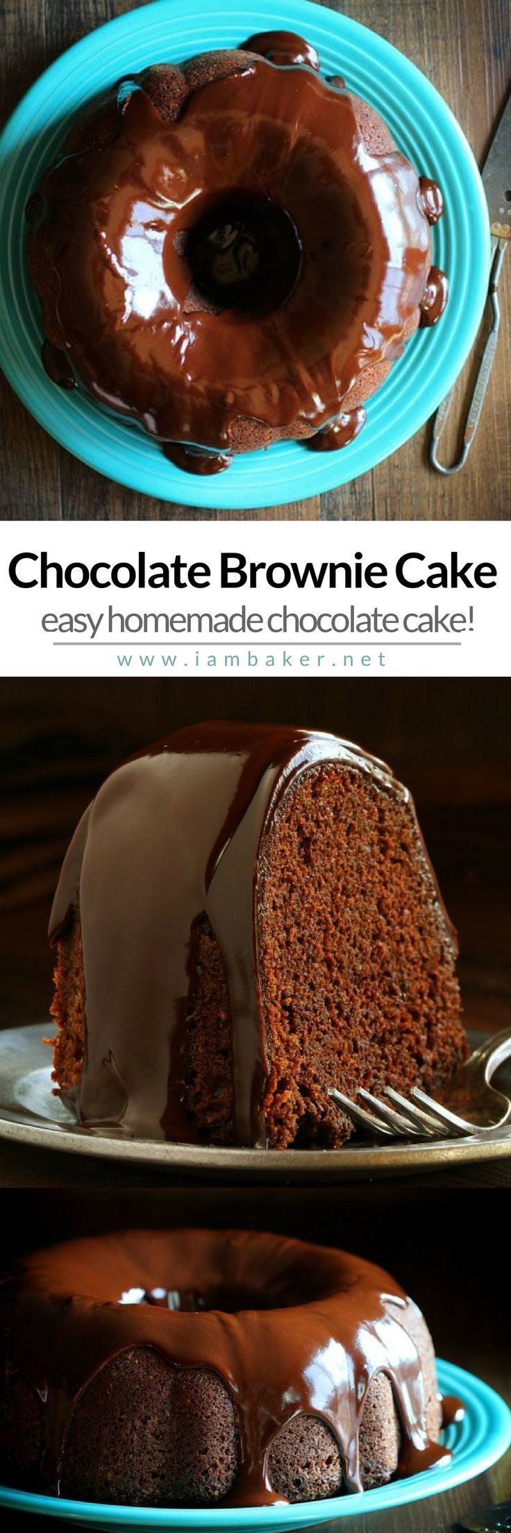 If you love to create simple yummy dessert recipes , you gotta try this Chocolate Brownie Cake! Sweet homemade and the easiest recipe you can follow at I am Baker.