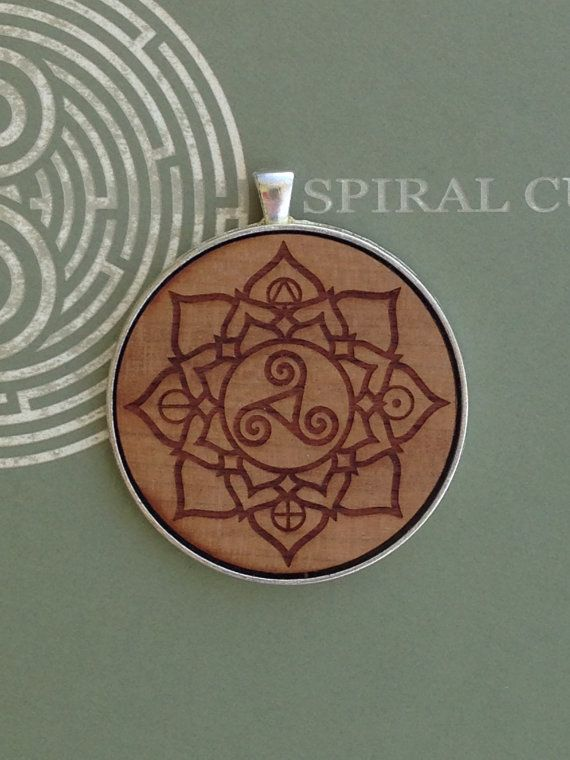 Elemental Mandala Design  Laser Engraved Wood by SpiralCutStudio