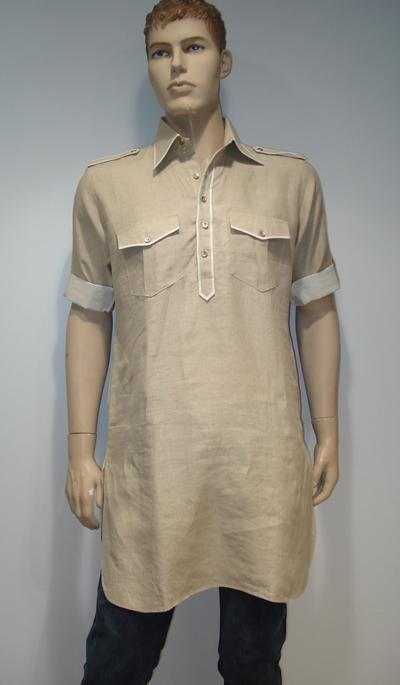 G3 fashions Beige Linen Short Pathani Kurta  Product Code : G3-MSP1015 Price : INR RS 2480