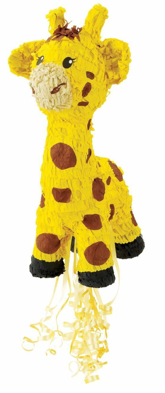 pinata giraffe, gelbe schleife, papier, kinderparty