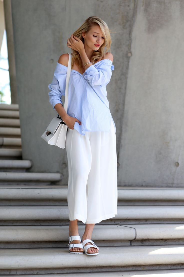 All deets: ohhcouture.com | Streetstyle: White culottes, Birkenstock sandals, @bulgari bag, off shoulder blouse #ohhcouture