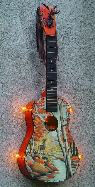 Paint by number small guitar lamp