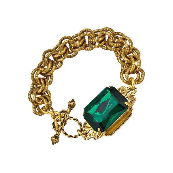 John Wind Maximal Art Emerald Heirloom Bracelet ($73) ❤ liked on Polyvore featuring jewelry, bracelets, john wind, crown jewelry, green jewelry, john wind jewelry and emerald green jewelry