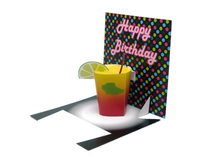 Pop-up birthday card with 3D mixed drink, complete with straw and slice of lime.