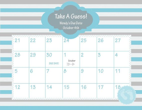 Printable Due Date Calendar // Baby Shower Game // Guess the Date // Baby Boy