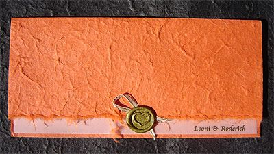 Ref Orange 2 panel ( we can do any colour) www.weddingcards.co.za