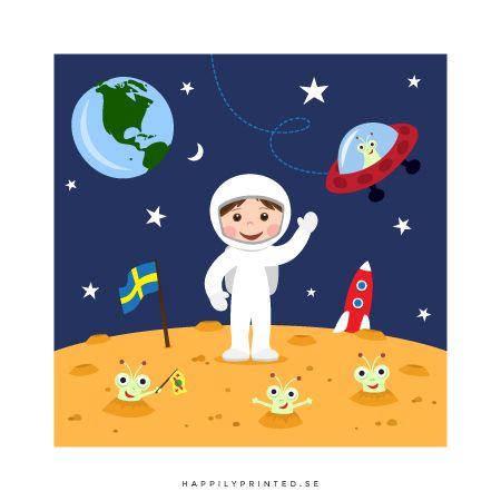 Fin barntavla med en liten astronaut och utomjordingar på planeten mars. Tavla för barn och barnrum.