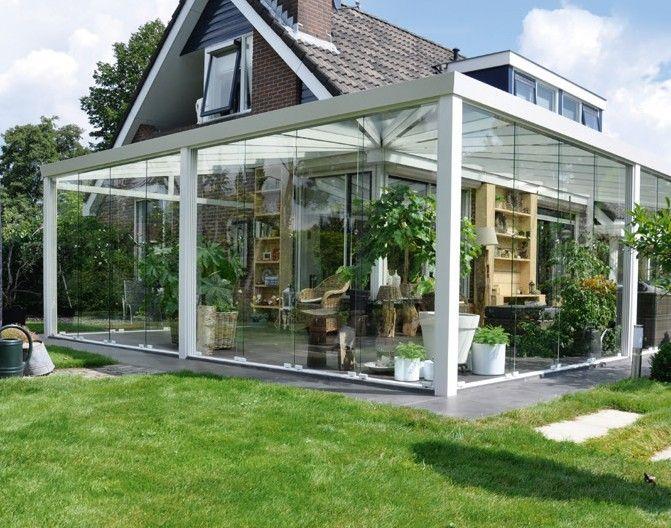 Veranda completa con vetrate scorrevoli angolo 90°