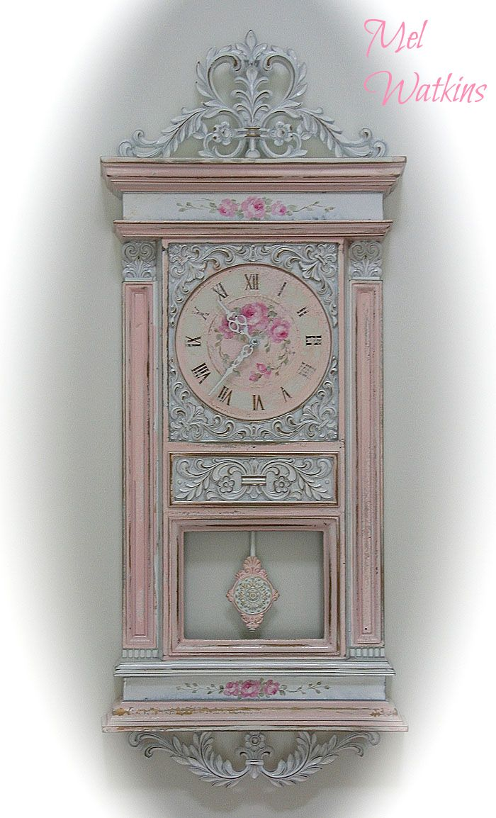 Decorating with old furniture outside likewise 39 beautiful shabby - My Gorgeous Shabby Chic Wall Clock 3 Roses Hand Painted By Debi Coules 3