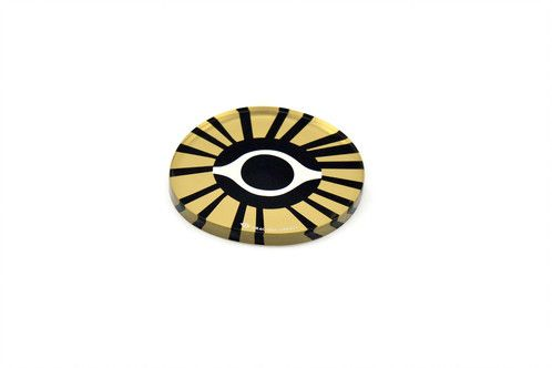 Gold evil eye | plexiglass coaster | screenprinted & lazer cutted | designed and made in Greece