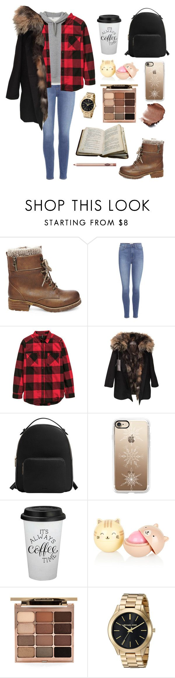 """""""Winter boots: warm brown"""" by liutong1200500632 ❤ liked on Polyvore featuring Steve Madden, Paige Denim, H&M, Yves Salomon, MANGO, Casetify and Stila"""
