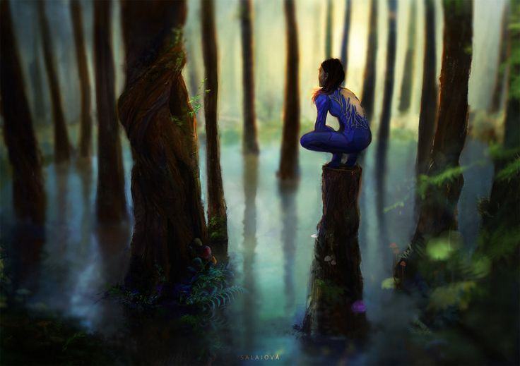Curiosity by Heww.deviantart.com on @DeviantArt  #concept #art #drawing #woman #swamp #waterforest #forest #trees #moss #fern #mushrooms #atmospheric #blue #nature #calm #perspective #landscapes #scenery #view #photoshop #dogital #painting #girl #crouching #crouch #futuristic #suit #uniform #violet