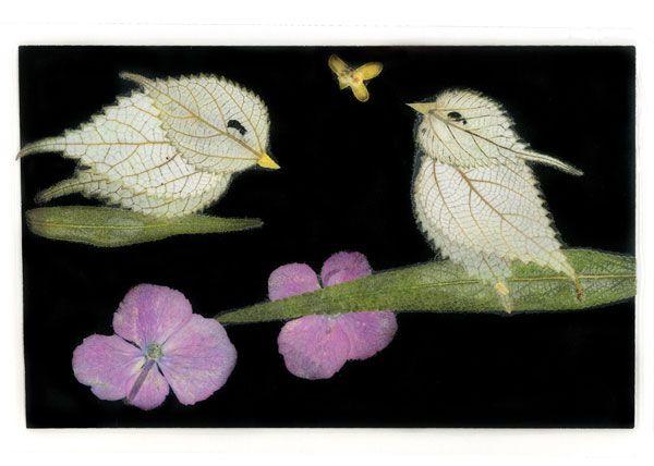 uccellini con fiori/foglie pressate