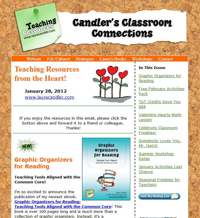 January 28, 2012 Newsletter from Laura Candler at Teaching Resources - Includes information about graphic organizers for reading ebook, new TpT credit system, February freebies, Somebody Loves You, Mr. Hatch, and more!