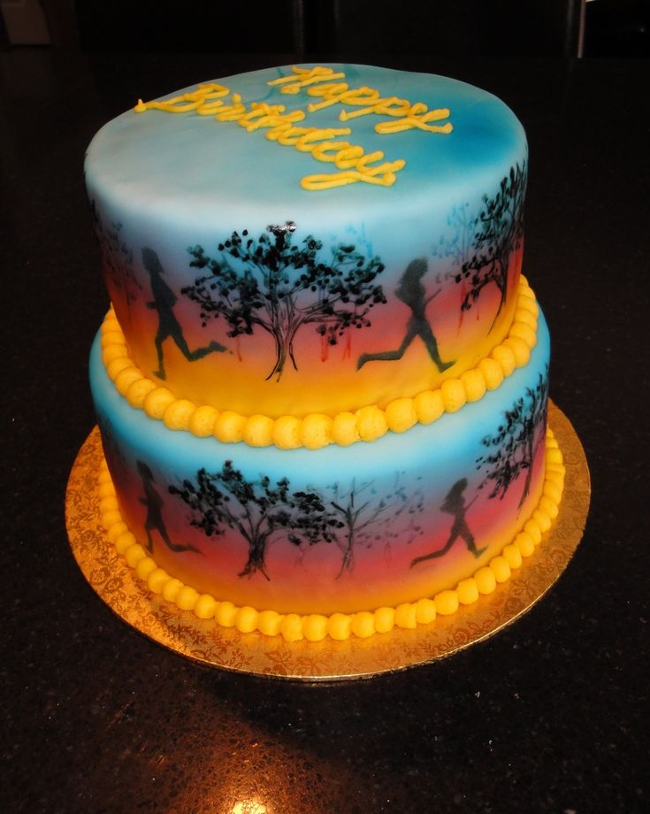 Birthday Cake Pictures For Runners : Runners Birthday Cake, change colors and figure for male ...