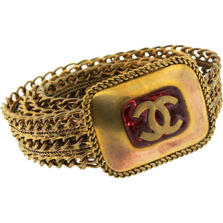 "Classic CHANEL GRIPOIX Emblem CC Ruby Glass Vast Semi-Inflexible Chain Hyperlink 29.5"" BELT"