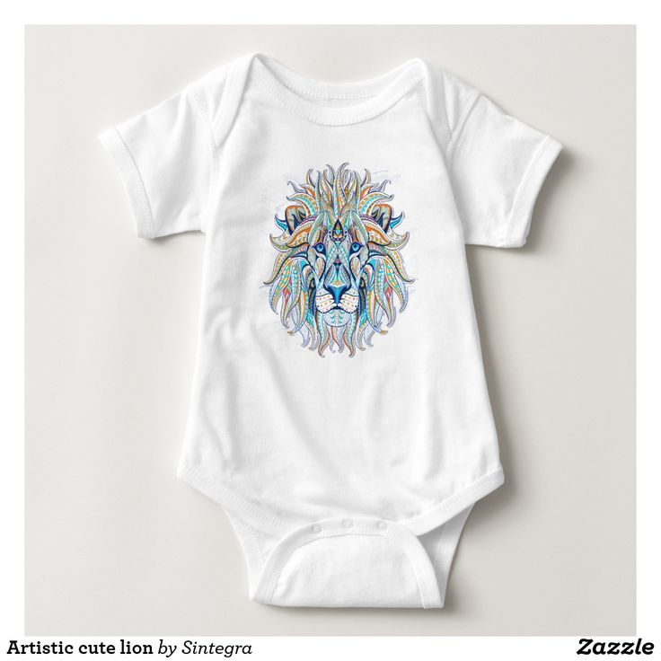 Artistic cute lion baby bodysuit