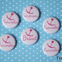 """Blog Tintenelfe.de - neue Buttonserie """"Ahoi"""" #buttons #jga #junggesellenabschied #hochzeit #braut #trauzeugin #bridalshower"""