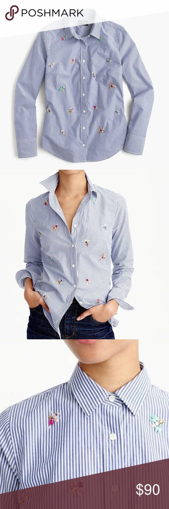 J Crew prefect shirt with bee embellishment J Crew prefect striped shirt with bee embellishment.        Features precisely placed darts for a slimming, waist-defining fit that's more tailored and polished.                          Hand-embellished bees for a quirky, perfectly J.Crew take.  SOLD OUT!   ·        Cotton. ·        Long roll-up sleeves. ·        Functional buttons at cuffs. ·        Button placket. BRAND NEW WITH TAGS. SZ 2 J. Crew Tops Button Down Shirts