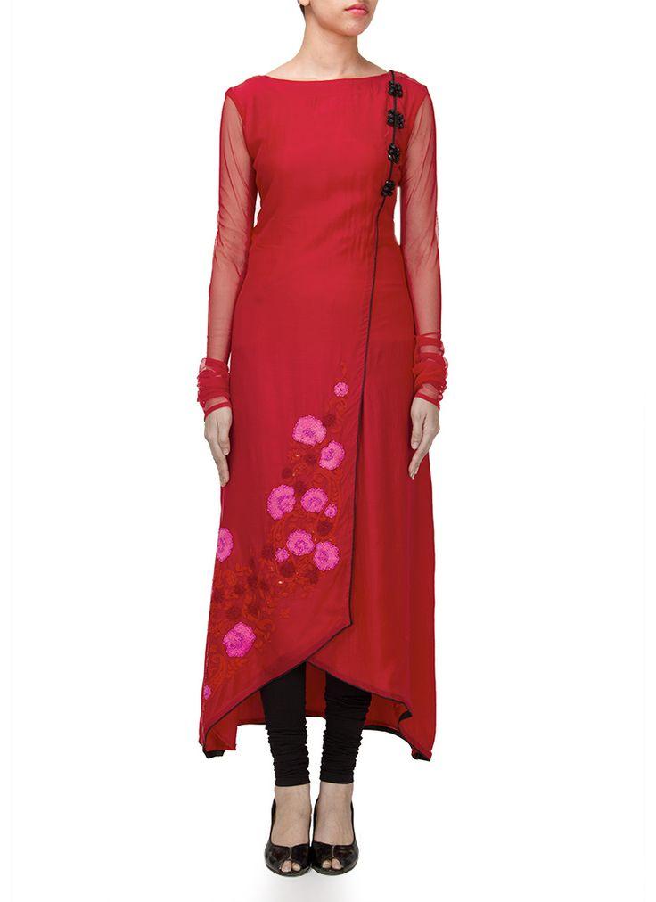 Red Muslin Cotton Asymmetrical Churidar Suit