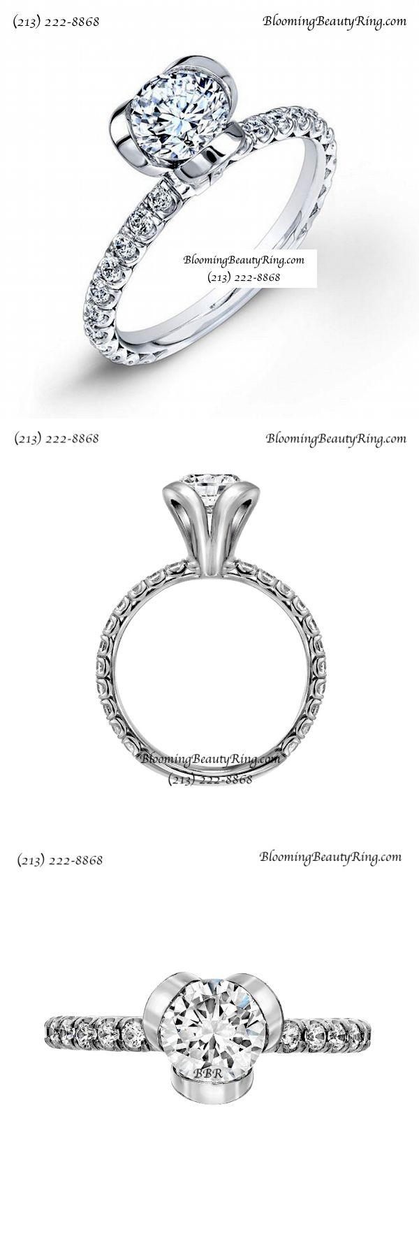 Another unique diamond engagement ring by BloomingBeautyRing.com  #UniqueRingEngagementRing  (213) 222-8868