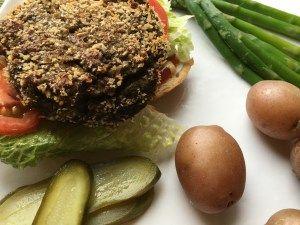 Mushroom Veggie Burgers Using Almond Milk Pulp