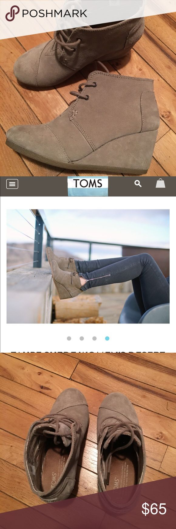 Toms wedge booties, tan Worn once Toms wedge booties TOMS Shoes Wedges