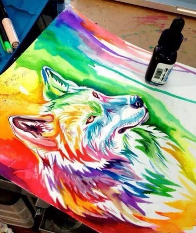 Water Color Rainbow Wolf Painting!!!