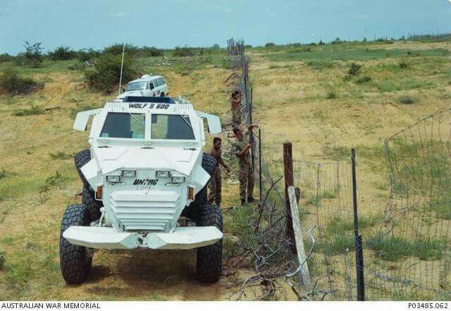 A mine resistant armoured personnel carrier (APC), known as a Wolf 5-500, produced by Windhoek Machine Fabrications (WMF) for the United Nations and used by Australians of the United Nations Transition Assistance Group in their patrolling program. They were shorter than the South West Africa Police (SWAPOL) Wolves by 500mm and 100 hp less powerful, but were still capable of speeds of up to of 160km/h on bitumen.