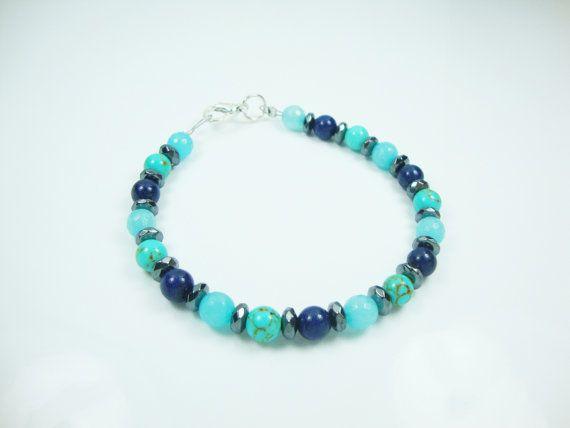 FREE SHIPPING Natural Lapis Lazulli - Turquoise - Agate - Hematite Stones Handmade Bracelet 19.5 cm - 7.6 inches on Etsy, 16,00€
