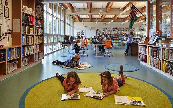 Wilkes Elementary on Bainbridge Island, WA | Mahlum Architects, Library, kids reading area, wood ceiling, book cases