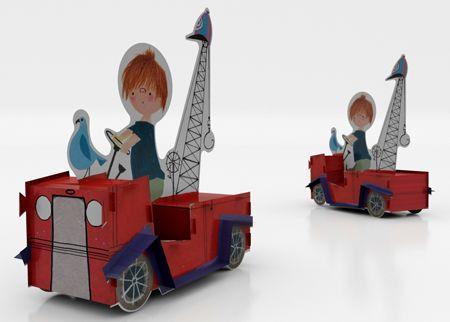 Bouwplaat van de mooie rode kraanwagen in A4 formaat. De bouwplaat is zonder schaar of lijm in elkaar te zetten. Gebaseerd op een tekening uit het boek: 'Pluk van de Petteflet' van Annie M.G. Schmidt en Fiep Westendorp. Geproduceerd door Bouwen = Vouwen. Prijs: € 5,95. Onder meer verkrijgbaar via de Fiep Westendorp webshop.