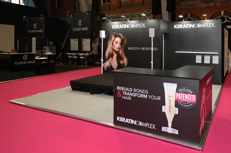 A stand for Keratin Complex at Pro Hair 2016 in Manchester. Simple design with stage area and PA system from which to carry out demos.