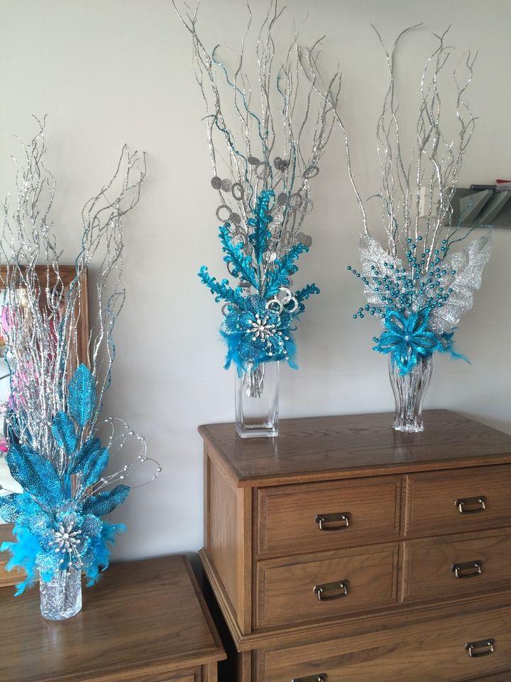 Silver Aqua Blue Centerpieces
