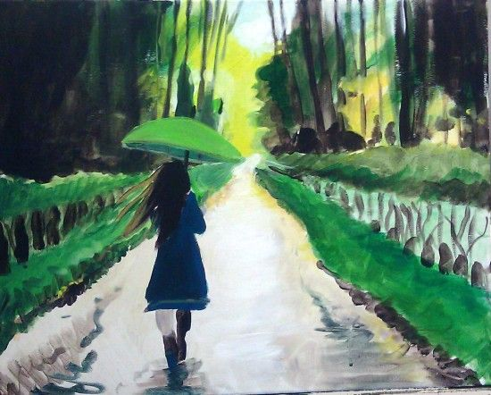 "Join us to paint ""Girl in the Rain"", May 21st, at 7pm! Click for more info!"